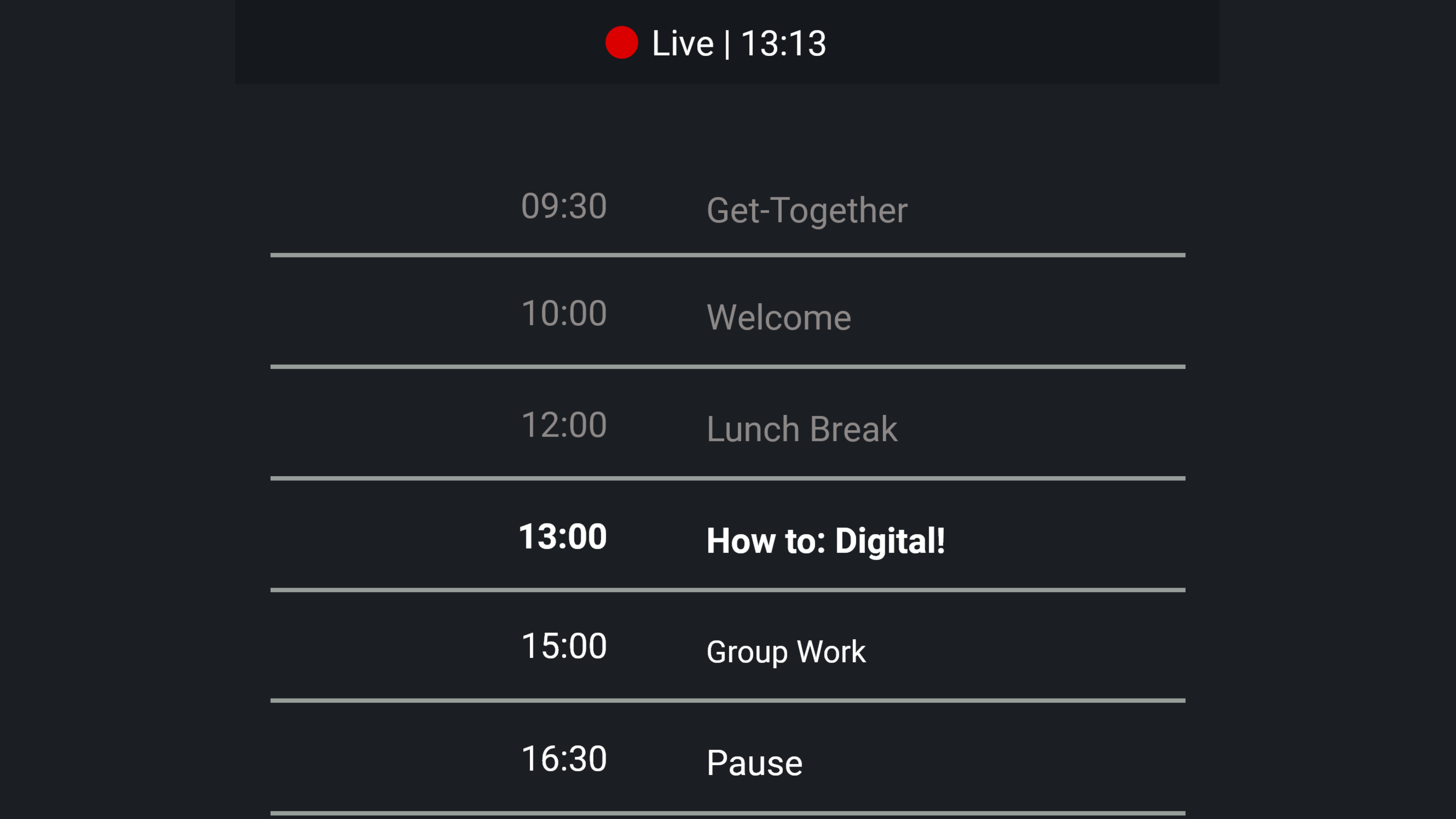 agenda overview, timetable, ordered