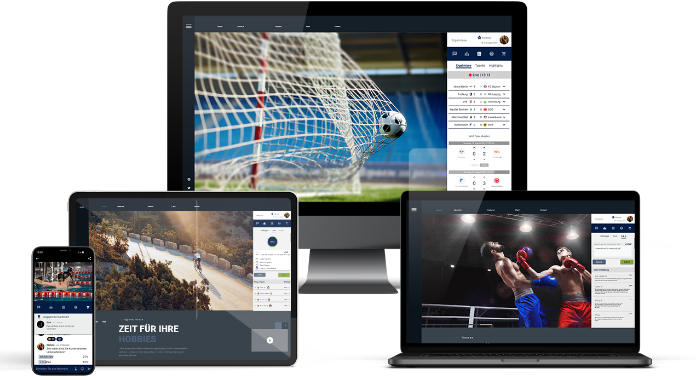 Different devices showing features of Spect8 in the theme of sports