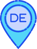 geotagging icon with DE in the center