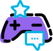 Controller, star and little message bubble for gamification feature