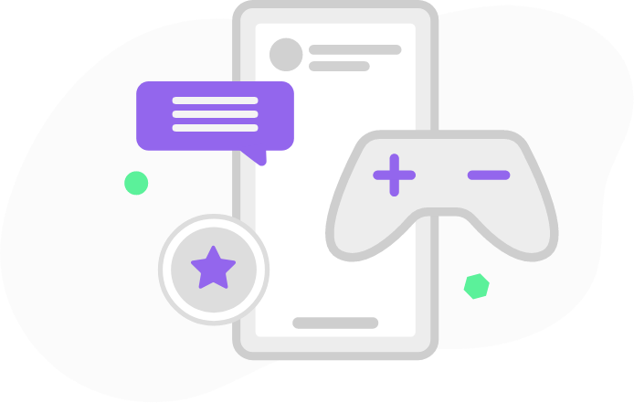 colourful graphic of a screen and smaller colorful graphic elements, gaming controller, star, violett