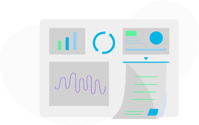 Graphic showing different designs for analytics and processes